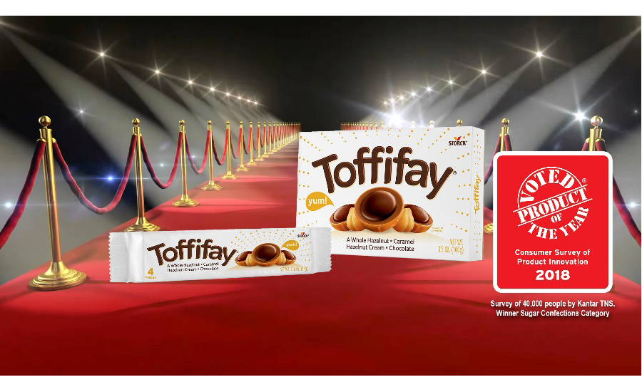 Toffifay delivers a highly unique eating experience with its whole roasted hazelnut, chewy caramel cup, hazelnut cream and drop of chocolate.