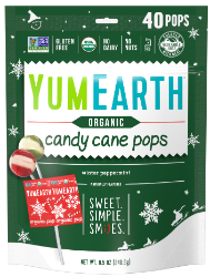 YumEarth candy cane pops