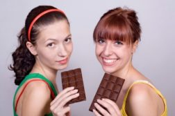 teens eating chocolate