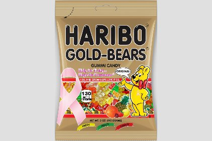 Pink ribbon Gold-Bears bag